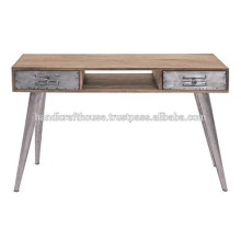 Industrial Mango wood and Metal legs 2 console table
