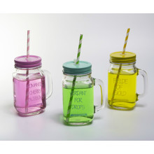 Clear 16oz Square Glass Mason Jar with Handle and Straw
