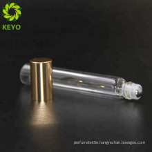 Gold glass bottles frosted glass roll on containers 5ml thin glass roll on bottle round 8 ml tube bottle for perfume