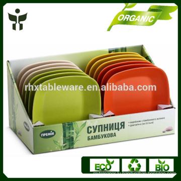 BPA free dish plate biodegradable square fiber plate