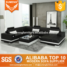 Móveis de sala de estilo de Canadá u em forma de sofá secional de couro genuíno