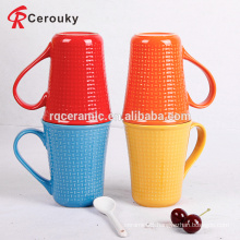 Solid color emboss ceramic promotional Christmas mug