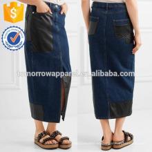 Nueva falda midi de mezclilla con paneles de cuero de imitación de moda DEM / DOM Fabricación al por mayor de prendas de vestir de mujer de moda (TA5185S)