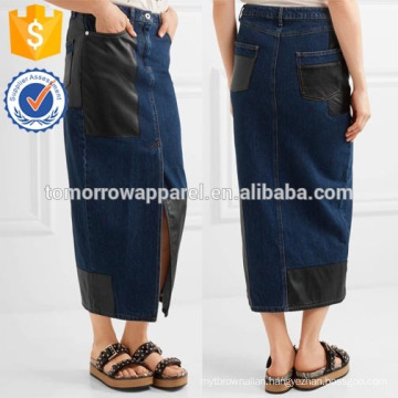 New Fashion Faux Leather-paneled Denim Midi Skirt DEM/DOM Manufacture Wholesale Fashion Women Apparel (TA5185S)
