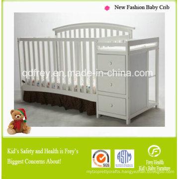 fashion Design Solid Pine Wood Baby Crib/Bed