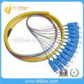 12Core Fiber Optic Bundle Pigtails SC / UPC avec une longueur différente