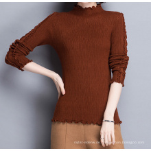 PK18ST097 Frauen klassische Top-Pullover mit Agaric Schnürsenkel braun Serie Jumper Pullover getrimmt