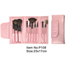 10pcs pink plastic handle animal/nylon hair makeup brush tool set with pink satin case
