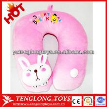 Наполненный мультфильм милый кролик форме розовый плюшевый шею подушку
