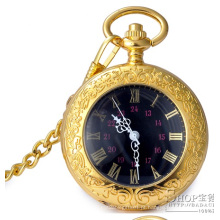 Relógio de bolso de ouro de movimento de quartzo de Design de cliente