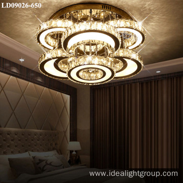 steel ceiling light crystal round chandelier lamp indoor