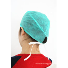 With tied on surgical disposable surgical cap
