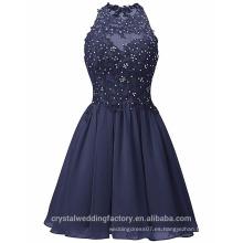 Nuevos vestidos de partido de la gasa del diseñador del cuello corto atractivo de O de Alibaba o vestido de noche LC04