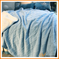 Cozy Cable Knit Reversible Sherpa Blanket with Fleece