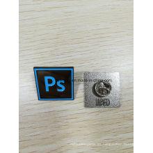 Pin de solapa de esmalte suave personalizado con parte trasera del logotipo en relieve