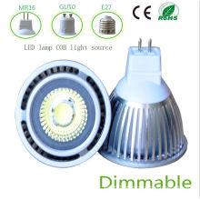 Dimmbale 5W branco MR16 COB luz LED