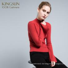 Großhandel Mock Hals 100% Kaschmir Frauen Pullover Mode Rüsche Ärmel Pullover