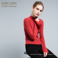 Wholesale Mock Neck 100% Cashmere Women Sweater Fashion Ruffle Sleeve Pullover