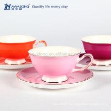 Taza de café y platillo de cerámica del té de China del hueso de cerámica fino promocional del color puro caliente de la venta