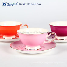 Hot Sale Cor Puro Promocional Fina Cerâmica Osso China Chá Chá De Café E Pires