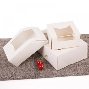 White Color with PET Window Cake Packaging Box Custom Cake Packing Box Wholesale with Clear Window Gift Paper Box