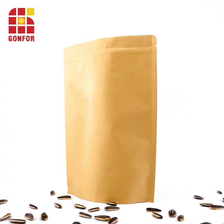 Kraft Paper Cashew Zipper Bags 2