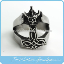 TKB-R0032 Men's 316L Large Stainless Steel Ring Silver Black Death Grim Reaper Skull Gothic Biker
