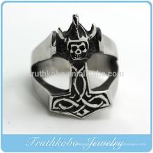 ТКБ-R0032 мужская 316L из нержавеющей стали кольцо серебро черный смерти Мрачный Жнец череп готический байкер
