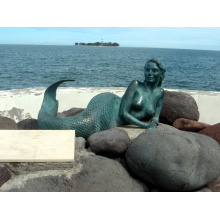 outdoor garden decoration metal crafts bronze mermaid statue