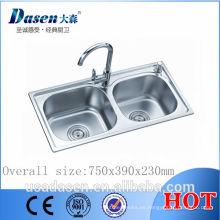 Dasen en venta 750 * 390 fregadero de tubo de drenaje flexible malasia fregadero de cocina comercial fregadero de cocina hecho a mano de acero inoxidable