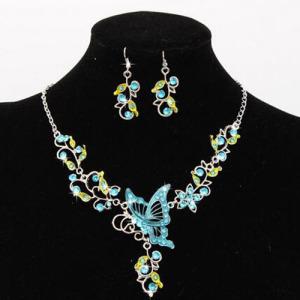 Conjuntos de colar de borboleta de cristal de liga de moda