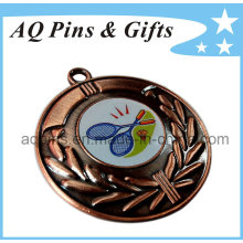 Badminton Medal with Printed Logo in Antique Copper
