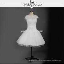 RSW731 Cap mangas de gasa de encaje corto vestido de boda patrones