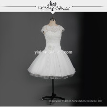 RSW731 Cap Manga Chiffon Padrão De Vestido De Casamento De Laço Curto