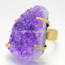 Amostra design pedra natural ametista druzy cuprum anéis