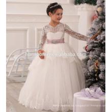 Vestido encantador de la muchacha de flor del cordón de la manga larga por encargo 2016 para la boda al por mayor