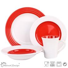 Conjunto de cena de cerámica con remolino rojo y blanco