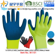 Winter Gloves, 7g Acrylic Shell Napping Lining Latex Coated Gloves (W1101) Crinkle Finish with CE, En420, En388, En511 Certificate.