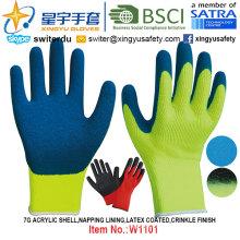 Зимние перчатки, 7г акриловая раковина дремлет Подкладка перчатки Покрынные латексом (W1101) Морщинка закончить с CE, En420, ладони en388, En511 сертификат.