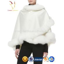 Lady Luxury Style Cashmere Shawl Scarf with Fox Fur Trim Custom Cashmere Shawl