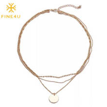 Fashion 2020 Stainless Steel Engraved Letter Disc Necklaces