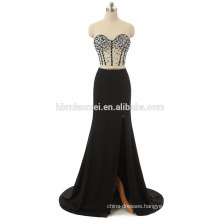 2017 new arrival off shoulder beaded wholesale sexy prom dress high split black, light blue sexy two piece prom dress