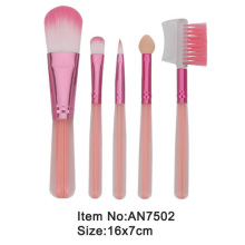 5pcs lovely pink plastic handle animal/nylon hair portable makeup brush tool set