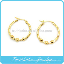 TKB-E0019 Inox Jewelry 316L Bola de acero inoxidable Dangle Hoop Post Pendientes Pendientes de aro de acero inoxidable de las mujeres