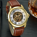 vintage leather men's mechanical watch