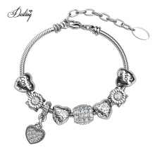 New Wholesale High Quality Ti′amo Heart Charm Engraved Crystal Bracelet