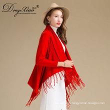 Модные женщины элегантный Красный 100% чистый кашемир Пашмины шали