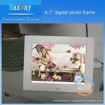 Cadre photo numérique support multilingues 9,7 pouces