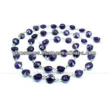 925 Sterling Silber Perlen Ketten Amethyst, Großhandel Lieferant von Edelstein Schmuck