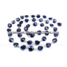 925 chaînes en perles en argent sterling Améthyste, fournisseur en gros de bijoux en pierres précieuses